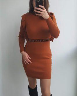 Ruda suknelė su raštais